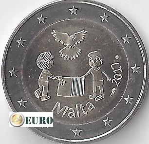 2 euro Malta 2017 - Vrede UNC muntstempel MdP