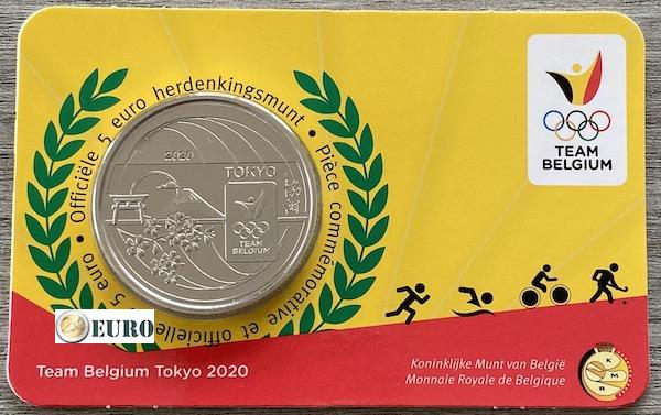 5 euro Belgie 2021 - Team Belgium Tokyo BU FDC Coincard Reliëf