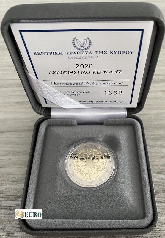2 euro Cyprus 2020 - Instituut Neurologie en Genetica BE Proof