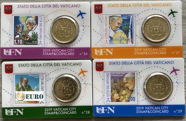 50 cent en postzegel coincard Vaticaan 2019 - nr 26 + 27 + 28 + 29