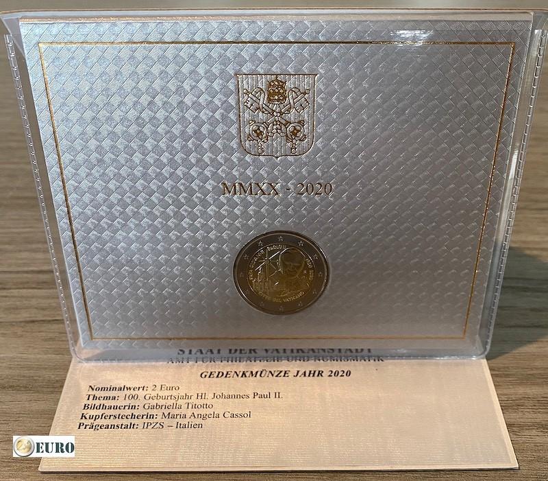 2 euro Vaticaan 2020 - 100 jaar Paus Johannes Paulus II BU FDC