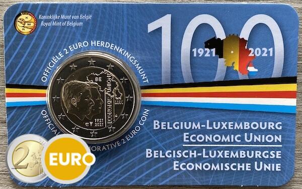 2 euro Belgie 2021 - 100 jaar BLEU BU FDC Coincard NL